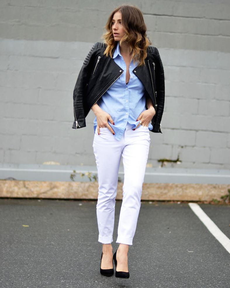 Pantalon blanco y chaqueta negra