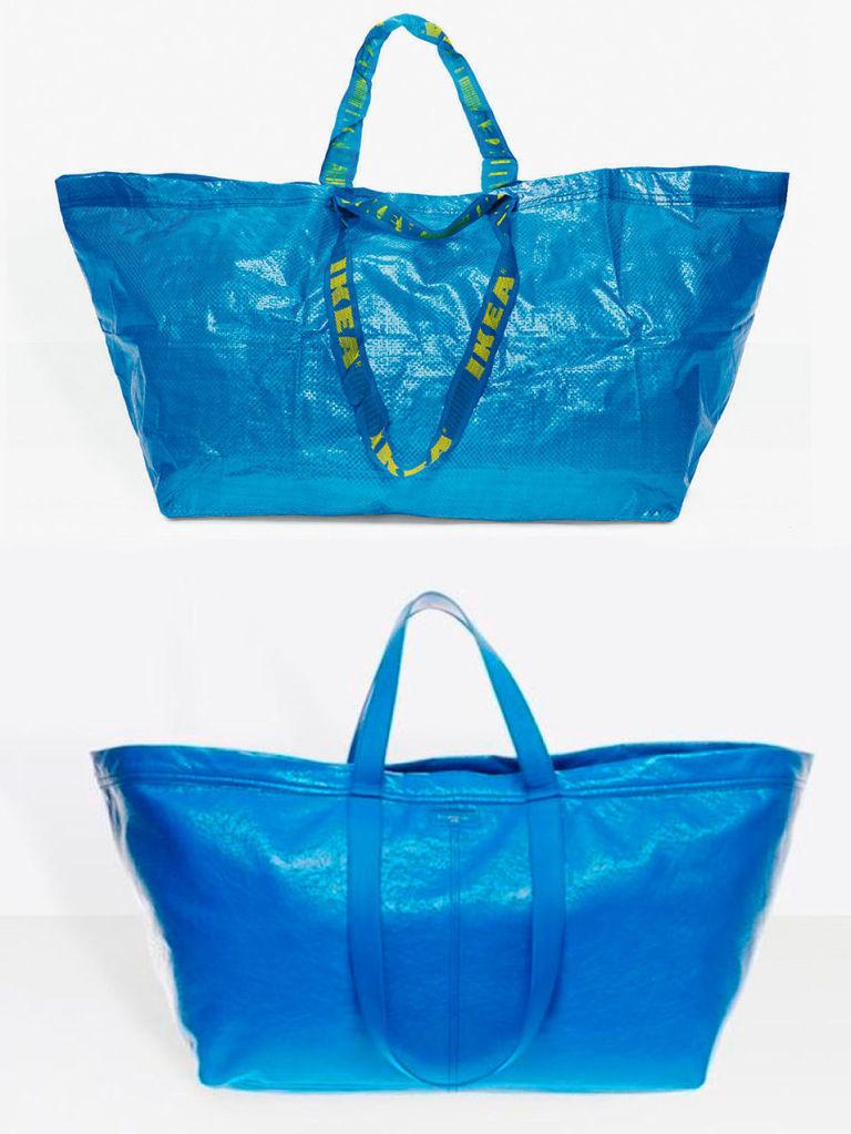 bolso de balenciaga inspirado en las bolsas azules de ikea